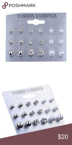 🆕 Set of 9 Stud Earrings 😍😍 This set of 9 pairs of stud earrings includes three different sizes of three different designs. A lovely silver ball stud, a bit of bling with a faux diamond stud, and a classic simulated pearl stud. Limited Quantities, These won't last long! Jewelry Earrings