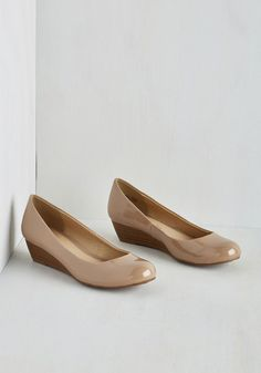 Commuter Genius Wedge in Beige - Low, Faux Leather, Cream, Solid, Work, Minimal, Good, Wedge, Basic, Top Rated