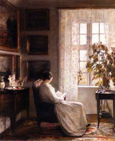 Reading by the Morning Light, Carl Vilhelm Holsoe