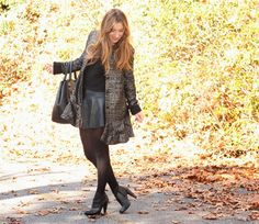www.streetstylecity.blogspot.com  Fashion inspired by the people in the street ootd look outfit sexy high heels legs woman girl black leather skirt miniskirt pantyhose