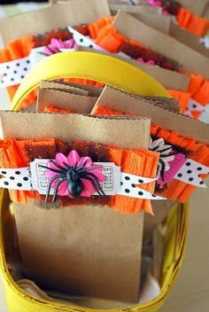 Brown lunch bags decorated with crepe paper ruffles!!