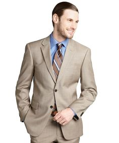 Tommy Hilfiger : tan sharkskin wool two-button suit jacket : style # 322154001