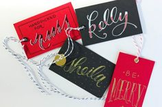 love the hand lettered tags at Faye & Co.