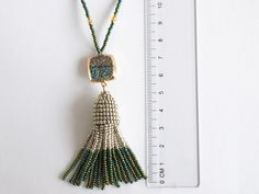 Tassel necklace grey silver & green beaded tassels brush Beaded Tassel Necklace, Tassels, Trending Outfits, Grey, Unique Jewelry, Handmade Gifts, Silver, Gray, Kid Craft Gifts