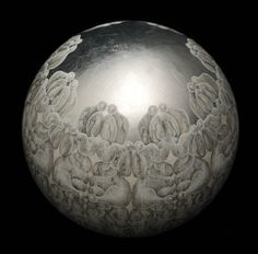 Carol Prusa...silverpoint and graphite drawing on acrylic sphere