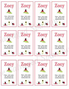 Kid's Calling Cards  (play date cards)