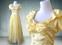 1940s Evening Gown in Yellow Satin and Chiffon Wedding Dress