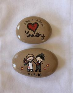 OUR LOVE STORY Painted Stones: give a special Bride-to-Be or Groom-to-Be a set of hand-painted stones depicting their very own love story! This set will be cherished for years to come! Story Stones allow a person to tell a particular story in their own words, with their own personal