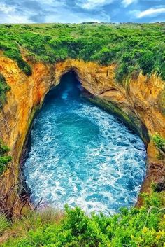 """coiour-my-world: """"The Blowhole ~ Loch Ard Gorge ~ Great Ocean Road, Victoria, Australia ~ by Vincent Roussihon """" Australia Tours, Australia Travel, Wonderful Places, Beautiful Places, North Island New Zealand, Rio, Victoria Australia, Cool Pools, Places Around The World"""