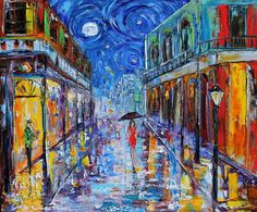 Fine art Print from image of oil painting New Orleans Starry Night Moon - print by Karen Tarlton Tile Murals, Tile Art, Painting Prints, Fine Art Prints, Canvas Prints, Moon Painting, New Orleans Art, New Orleans Tattoo, Jazz
