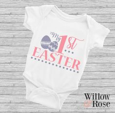 First Easter Outfit Babygrow Personalised baby bodysuit vest 1st Easter egg Hunt Outfit basket