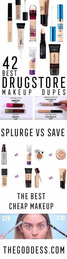 Best Drugstore Makeup Dupes - Simple DIY Tutorials That Cover The Best Drugstore Dupes And Products For Foundation, Contouring, Lipsticks, Eye Concealer, Products For Oily Skin, Dupe Brushes, and Primers From 2016 And Places Like Target.  These Are Cheap And Affordable - thegoddess.com/...