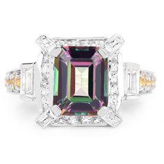 A Perfect 5.62CT Emerald Cut Genuine Mystic Topaz, Citrine and White Topaz Platinum Ring