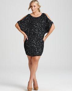 Aidan Mattox Plus Sequin Split-Sleeve Dress