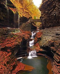 Rainbow Falls, Watkins Glen State Park, New York — Photography by @dannywild11