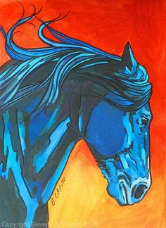 """Midnight Blue by Beverly Caputo Watercolor ~ 7"""" x 5"""""""