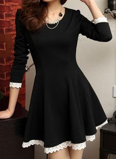 Stylish Scoop Collar Lacework Splicing Waisted Corset Long Sleeve Women's Dress