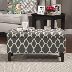 Urban and Transitional Style, Geo Large Storage Ottoman, Grey -- Awesome products selected by Anna Churchill