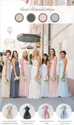 multicolor bridesmaid dresses. Doesn't look bad...if u can't decide on a color: shades of blue