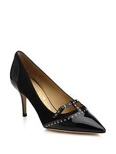 Salvatore Ferragamo - Liena Suede & Patent Leather Studded Pumps