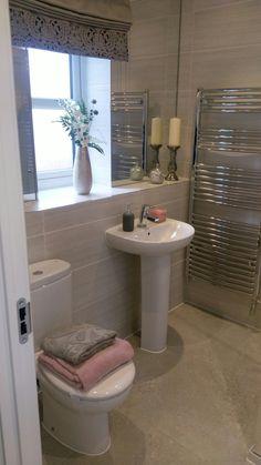 Mink and Pink colour scheme. Bellway Homes. The Oakwood Large Bathrooms, Grey Bathrooms, Modern Bathroom, Neutral Bathroom, Bellway Homes Kitchens, Bathroom Inspiration, Bathroom Ideas, Bathroom Designs, Bathroom Plans