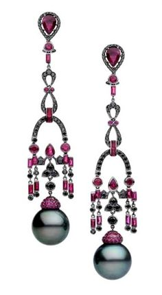 Autore. Don't these just scream decadence and luxury? The ruby and black pearl are so stunning together.