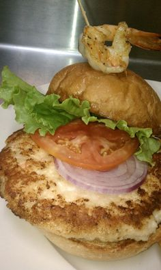 Chef Carge's shrimp burger. Frozen Daiquiri, Frozen Drinks, Hurricane Bar, Shrimp Burger, Fresh Seafood, Mussels, Clams, Fun Drinks, Oysters