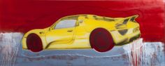 """Porsche 918 Spyder "" 2014 lacquer paint on polymer painting by Rand Heidinger for the March 2014 Exhibition in conjunction with Porsche Winnipeg 660 Pembina Hwy."