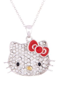 Pave Crystal Hello Kitty Pendant Necklace