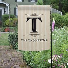 Personalized Family Monogram Garden Flag . $19.95. Add a unique, distinctive finish to your front yard or garden with our personalized Elegant Monogram Personalized Garden Flag!The unique monogram design, with a modern scroll accent, provides a distinctive finish to your home while attractively displaying your home address or family name on our all weather, double-sided flag. Choose from 5 background colors to best suit your home and personal taste.Design is printe...