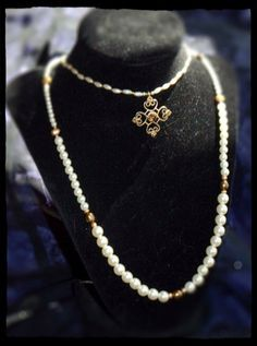 Vintage Pearl & Gold Necklace on Etsy, $35.00