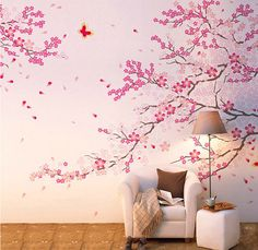 Cherry Blossom Wall Decal-Pink Flower Wall Sticker-Butterfly Wall Art-Vinyl Cherry Blossom Decals For Living Room-Florals Wall Murals