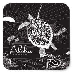 Aloha Hawaii Turtle Square Sticker - craft supplies diy custom design supply special