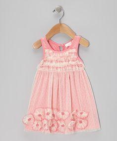 Pink Mesh Flower Ruffle Dress