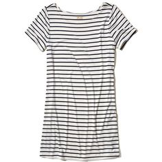 Hollister Jersey T-shirt Dress (52 AUD) ❤ liked on Polyvore featuring dresses, white stripe, white jersey, jersey dress, striped tee shirt dress, t shirt dress and white day dress