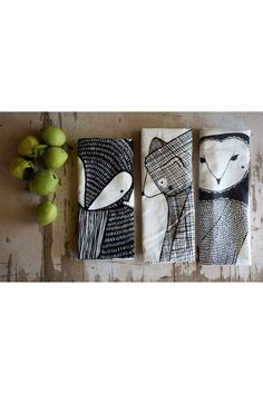 Now you can purchase all 3 of our forest animal tea towels. Bundle includes: 1 Bear Tea Towel 1 Fox Tea Towel 1 Owl Tea Towel 100% cotton, and professionally screen printed with black ink **As always,
