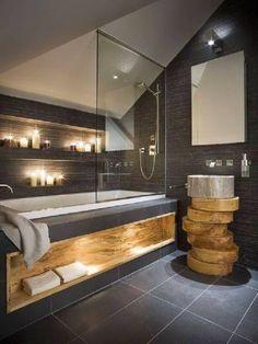 Стильное оформление ванной с многоуровневой подсветкой
