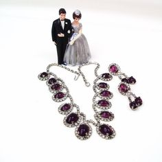 Vintage Amethyst Necklace Earrings Set Purple by WhimzyThyme