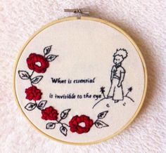 The little prince embroidery hoop art/Le petit prince embroidery/book stitching Embroidery Hoop Art, Hand Embroidery Patterns, Cross Stitch Embroidery, Cross Stitch Patterns, Machine Embroidery, Embroidery Designs, Snitches Get Stitches, The Little Prince, Creative Crafts