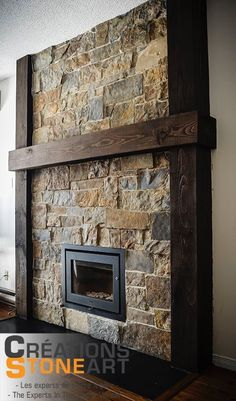 Fireplace Done with Kiamichi Natural Thin Stone Veneer for Amazing Rock Tile Fir. Fireplace Hearth Stone, Rock Fireplaces, Rustic Fireplaces, Fireplace Remodel, Fireplace Mantle, Fireplace Surrounds, Fireplace Design, Fireplace Backsplash, Fireplace Ideas