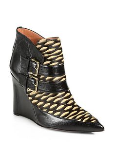 Derek Lam - Marta Calf Hair & Leather Wedge Ankle Boots - Saks.com