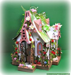 My little Paper Fairy Cottage from SVGcuts bewitched Cabin !! Incredible little diy paper fairy summer cabin <3 wow :) #svgfiles