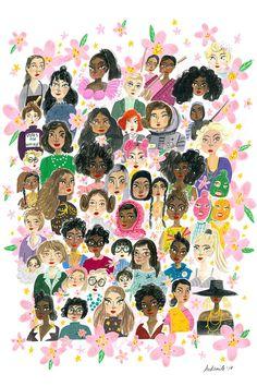 Girl Power Feminist Kids and Girls Wall Art — Viktorija Illustration Buch Design, Feminist Art, Day Wishes, Woman Drawing, Grafik Design, Gouache, Ladies Day, Women Day, Girl Power