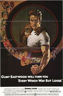Every Which Way But Loose is a 1978 American adventure comedy film, released by Warner Brothers, produced by Robert Daley and directed by James Fargo. It stars Clint Eastwood in an uncharacteristic and offbeat comedy role, as Philo Beddoe, a trucker and brawler roaming the American West in search of a lost love while accompanied by his friend/manager Orville and his pet orangutan, Clyde.