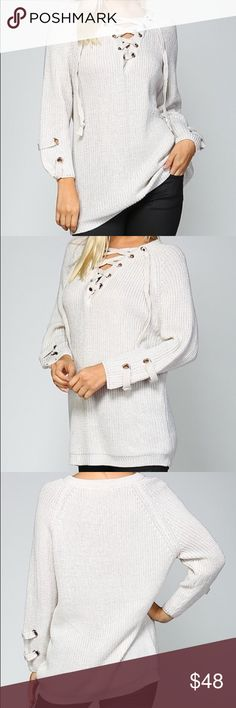 "Chunky cable knit lace up sweater w cuff detail Lace up sweater in color ivory  Features: Very trendy Hottest item of the year Goes with everything On trend lace up neckline Long sleeves Detail at cuff Pullover style Material: 80% acrylic, 20% cotton Boutique clothing  Please note that the material has good amount of stretch.   Measurements:  Small: Bust : 36""-42"" Length: 26.5""  Medium: Bust: 38""-44"" Length:27""  Large: Bust: 40""-46"" Length:27""  Above measurements are in inches Pink Peplum…"