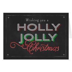 Chalkboard Wishing you a Holly Jolly Christmas Card