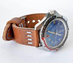 Hard leather orange  light brown blue stitching watch strap