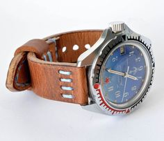 Hard leather orange light brown blue by VladislavKostetskyi