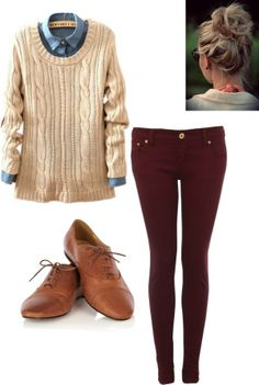 maroon jeans. sweater. shirt. tan oxfords