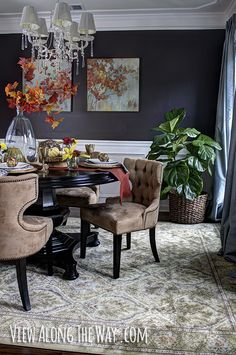 Fall-inspired dining room and table decorating ideas. Awesome dark wall. Lots more on this page!
